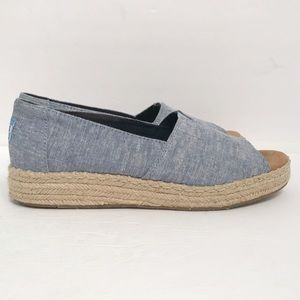 Toms • Women's Pep Toe Espadrille Wedge Size 8.5